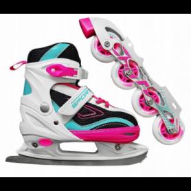 Коньки роликовые раздвижные SportVida 4 в 1 Pink/Blue (SV-LG0031)