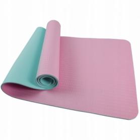 Коврик для йоги (йога-мат) SportVida TPE 6 мм SV-HK0227 Pink/Sky Blue
