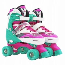 Коньки роликовые раздвижные (квады) SportVida Pink/Green (SV-LG0039)