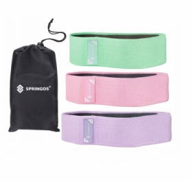 Набор резинок для фитнеса тканевых (3 шт.) Springos Hip Band (FA0116)