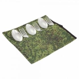 Набор столовых приборов туристический Champion (A00364-Khaki) - камуфляж, 6 предметов
