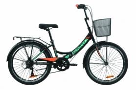 """Велосипед складной Formula SMART 7 с задним багажником St, с крылом St, с корзиной 2020 - 24"""", Черно-оранжевый с бирюзовым (OPS-FR-24-221)"""