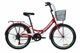 """Велосипед складной Formula SMART 7 с задним багажником St, с крылом St, с корзиной 2020 - 24"""", Красный (OPS-FR-24-220)"""