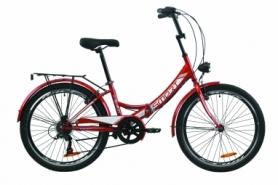 """Велосипед складной Formula SMART 7 с задним багажником St, с крылом St, с фонарем 2020 - 24"""", Красный (OPS-FR-24-225)"""