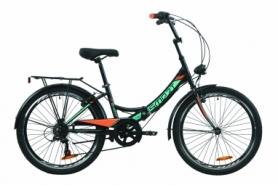 """Велосипед складной Formula SMART 7 с задним багажником St, с крылом St, с фонарем 2020 - 24"""", Черно-оранжевый с бирюзовым (OPS-FR-24-226)"""