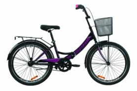 """Велосипед складной Formula SMART с задним багажником St, с крылом St, с корзиной 2020 - 24"""", Черно-фиолетовый (OPS-FR-24-229)"""