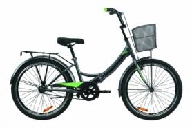 """Велосипед складной Formula SMART с задним багажником St, с крылом St, с корзиной 2020 - 24"""", Серо-зеленый с черным (OPS-FR-24-228)"""