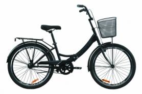 """Велосипед складной Formula SMART с задним багажником St, с крылом St, с корзиной 2020 - 24"""", Черно-серый с белым (OPS-FR-24-232)"""