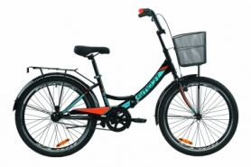 """Велосипед складной Formula SMART с задним багажником St, с крылом St, с корзиной 2020 - 24"""", Черно-оранжевый с бирюзовым (OPS-FR-24-231)"""