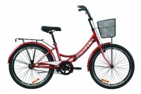 """Велосипед складной Formula SMART с задним багажником St, с крылом St, с корзиной 2020 - 24"""", Красный (OPS-FR-24-230)"""