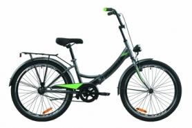 """Велосипед складной Formula SMART с задним багажником St, с крылом St, с фонарем 2020 - 24"""", Серо-зеленый с черным (OPS-FR-24-233)"""