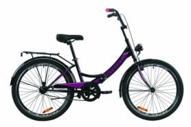 """Велосипед складной Formula SMART с задним багажником St, с крылом St, с фонарем 2020 - 24"""", Черно-оранжевый с бирюзовым (OPS-FR-24-236)"""