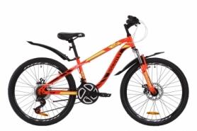 """Велосипед подростковый горный Discovery FLINT AM DD с крылом Pl 2020 - ST 24"""", рама - 13"""", Красно-черный с салатовым (OPS-DIS-24-161)"""