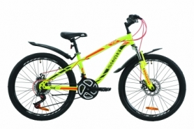 """Велосипед подростковый горный Discovery FLINT AM DD с крылом Pl 2020 - ST 24"""", рама - 13"""", Салатово-красный с хаки (OPS-DIS-24-160)"""