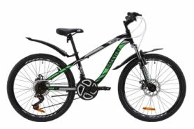 """Велосипед подростковый горный Discovery FLINT AM DD с крылом Pl 2020 - ST 24"""", рама - 13"""", Черно-зеленый (OPS-DIS-24-159)"""