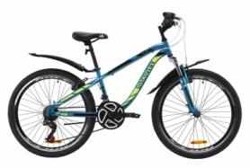 """Велосипед подростковый горный Discovery FLINT AM Vbr с крылом Pl 2020 - ST 24"""", рама - 13"""", Лазурно-желтый с черным (OPS-DIS-24-163)"""