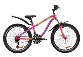 """Велосипед подростковый горный Discovery FLINT AM Vbr с крылом Pl 2020 - ST 24"""", рама - 13"""", Малиново-голубой с желтым (OPS-DIS-24-162)"""