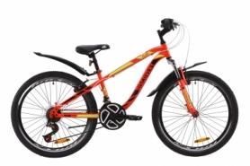 """Велосипед подростковый горный Discovery FLINT AM Vbr с крылом Pl 2020 - ST 24"""", рама - 13"""", Красно-черный с салатовым (OPS-DIS-24-166)"""