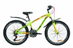 """Велосипед подростковый горный Discovery FLINT AM Vbr с крылом Pl 2020 - ST 24"""", рама - 13"""", Салатово-красный с хаки (OPS-DIS-24-165)"""