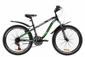 """Велосипед подростковый горный Discovery FLINT AM Vbr с крылом Pl 2020 - ST 24"""", рама - 13"""", Черно-зеленый (OPS-DIS-24-164)"""