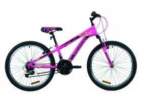 """Велосипед подростковый горный Discovery RIDER 2020 - 24"""", Малиново-черный с желтым (OPS-DIS-24-197)"""