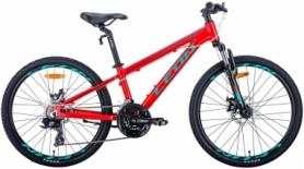 """Велосипед подростковый горный Leon JUNIOR AM DD 2020 - 24"""", рама - 12,5"""", Красно-бирюзовый с черным (OPS-LN-24-040)"""