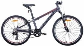 """Велосипед подростковый горный Leon JUNIOR AM 2020 - 24"""", рама - 12,5"""", Антрацитовый с красным (OPS-LN-24-046)"""