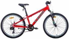 """Велосипед подростковый горный Leon JUNIOR AM 2020 - 24"""", рама - 12,5"""", Красно-бирюзовый с черным (OPS-LN-24-045)"""