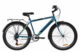 """Велосипед городской Discovery PRESTIGE MAN Vbr с задним багажником St, с крылом St 2020 - ST 26"""", Черно-серый с зеленым (OPS-DIS-26-241)"""