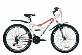 """Велосипед горный Discovery CANYON AM2 Vbr с крылом Pl 2020 - ST 26"""", рама - 17,5"""", Бело-черный с оранжевым (OPS-DIS-26-233)"""