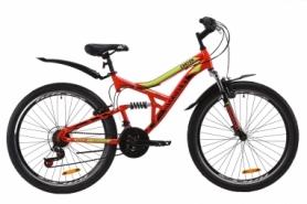 """Велосипед горный Discovery CANYON AM2 Vbr с крылом Pl 2020 - ST 26"""", рама - 17,5"""", Красно-салатовый с черным (OPS-DIS-26-232)"""