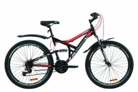 """Велосипед горный Discovery CANYON AM2 Vbr с крылом Pl 2020 - ST 26"""", Черно-красный с серым (OPS-DIS-26-231)"""