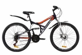 """Велосипед горный Discovery CANYON AM2 DD с крылом Pl 2020 - ST 26"""", рама - 17,5"""", Сине-оранжевый (OPS-DIS-26-234)"""
