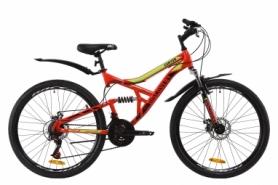 """Велосипед горный Discovery CANYON AM2 DD с крылом Pl 2020 - ST 26"""", рама - 17,5"""", Красно-салатовый с черным (OPS-DIS-26-237)"""