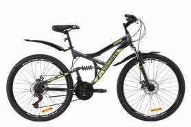 """Велосипед горный Discovery CANYON AM2 DD с крылом Pl 2020 - ST 26"""", Серо-желтый (OPS-DIS-26-235)"""