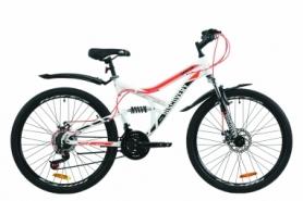 """Велосипед горный Discovery CANYON AM2 DD с крылом Pl 2020 - ST 26"""", Бело-черный с оранжевым (OPS-DIS-26-238)"""