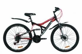 """Велосипед горный Discovery CANYON AM2 DD с крылом Pl 2020 - ST 26"""", Черно-красный с серым (OPS-DIS-26-236)"""
