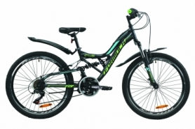 """Велосипед горный Formula ATLAS Vbr 2020 - 24"""", рама - 14"""", Антрацитово-зеленый с бирюзовым (OPS-FR-24-195)"""