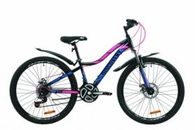 """Велосипед горный женский Discovery KELLY AM DD с крылом Pl 2020 - ST 26"""", Черно-малиновый с голубым женский (OPS-DIS-26-260)"""