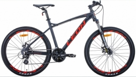 """Велосипед горный Leon HT-90 2020 - 26"""", рама - 19"""", Графитовый с красным (OPS-LN-26-054)"""