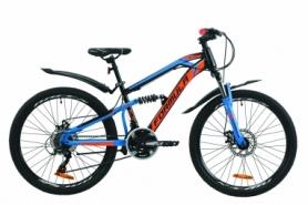 """Велосипед горный Formula BLAZE DD 2020 - 24"""", Черно-бирюзовый (OPS-FR-24-198)"""