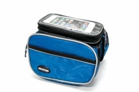 Велосумка на раму, с отделением под смартфон BRAVVOS QL-110 синяя с серой полосой