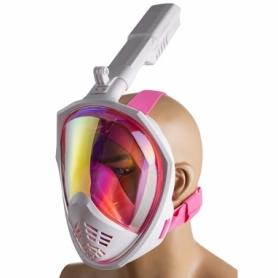 Маска для плавания полнолицевая зеркалка розовая (M2068)