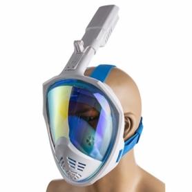 Маска для плавания полнолицевая зеркалка синяя (M2068)