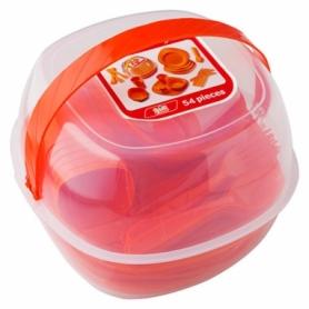 Набор посуды туристический Green Camp оранжевый, 54 предмета (GC-139/54R)