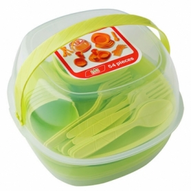 Набор посуды туристический Green Camp салатовый, 54 предмета (GC-139/54G)