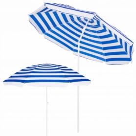 Зонт пляжный с регулируемой высотой и наклоном Springos (BU0008) - бело-синий, 180 см