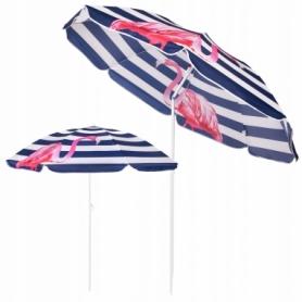 Зонт пляжный с регулируемой высотой и наклоном Springos (BU0012) - сине-белый, 180 см