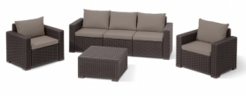 Комплект садовой мебели California 3 seater Allibert (8711245126425), коричневый