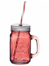 Чашка стеклянная с крышкой и трубочкой Красная CDRep (FO-114852), 0,45 л